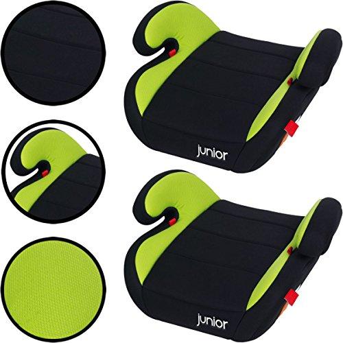 SET (2 STÜCK) Sitzerhöhung für Kinder von 15 bis 36 Kg (SCHWARZ / GRÜN) -