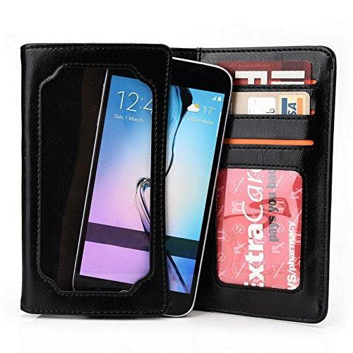 Kroo Unisexe pliable Portefeuille BlackBerry Z10universel différentes couleurs avec écran View Blau - blau schwarz - schwarz