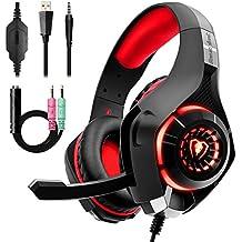 Cuffie Gaming per PS4 Xbox One, Beexcellent Cuffie Stereo Bass con Noise Cancelling Microfono Controllo del Volume