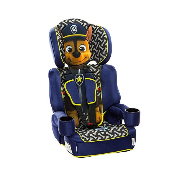 Kids Embrace Group 123 Car Seat Paw Patrol Chase Kids Embrace The kids embrace paw patrol car seat is a fun, stylish and safe, stage 1-2-3, high-back booster seat that can be used from 9 months up until your child reaches 12 years old. Use with the integral 5 point harness when your child is between the ages of 9 months to four years, then use with a car's 3 point seat belt up to the age of 12 years old. The single hand adjustable harness has two height positions and features a quick release buckle for convenience. also includes chest and buckle pads for extra comfort. 1