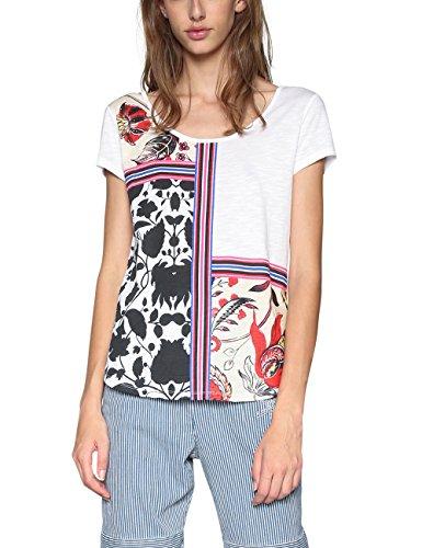 Desigual Damen T-Shirt TS_Deo, Weiß (White 1000), Large