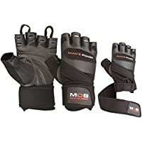 Leather Weight Lifting Gloves Power Lifting Lifter PADDED Palm Exercise Fitness Glove Strengthen Home Gym (Large, Black - M12)