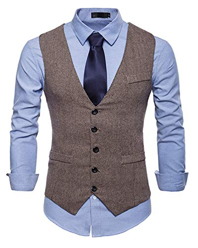 JOLIME Gilet Costume sans Manches Homme Vintage Tweed Slim Fit Casual Business Mariage Kaki XXL