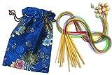 12 Stück 120cm Lang Stärken 3mm - 10mm Tunesische Afghanische Bambus Farbenreich Häkelnadel Set in Seidenbeutel
