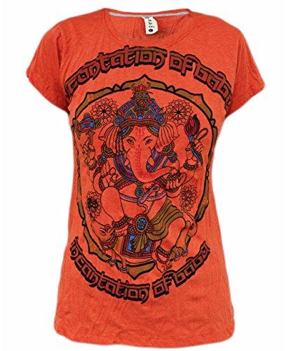 Yoga Shirts Ganesha T-Shirt für Damen' Ganesh Hindu Elefant Gott Om Namaste Top (Orange, Large)