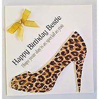 Happy Birthday Card - To My Bestie Leopard Style Print Shoe - Handmade Card
