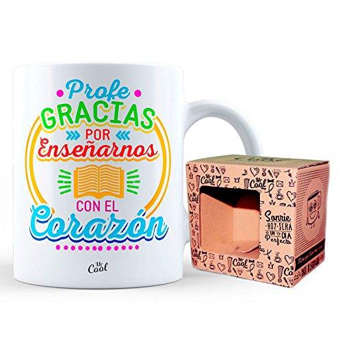 Mr.Cool Taza cerámica de desayuno con frase original (Profe gracias por enseñarnos con el corazón - modelo 1)