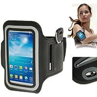 TechExpert Brassard sport tour de bras noir pour Samsung Galaxy SIV mini S4 mini/i9190 idéal pour les sportifs, course à pied ou salle de sport avec pochette pour clés