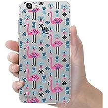 Funda carcasa TPU Transparente para Huawei P8 Lite Smart diseño estampado flamencos rosas con piñas azules