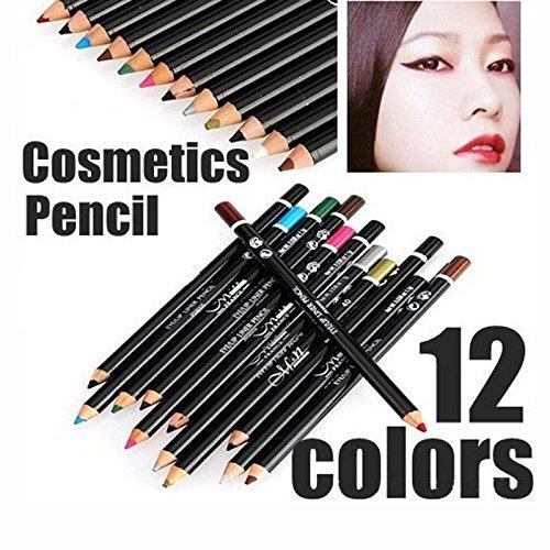 Efficiat (TM) 12 PC / Satz-kosmetischer Verfassungs-Augen-Lip Liner Augenbrauenstift Schreibset maquiagem sombra