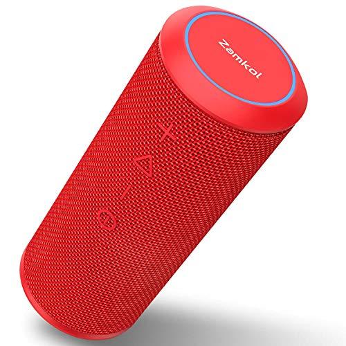 Wireless Bluetooth Lautsprecher Subbass Leistungsstarker 24 Watt Wireless 360° Sound Bluetooth Speakers V4.2 mit Wasserfest Stoßfest Mikrofon und Reinem Bass Zamkol (Rot)