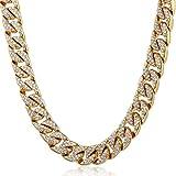 Trendsmax 14mm Hombres Mujeres Cadena de collar de Hiphop Cubierto con hielo cubano Oro amarillo relleno de piedras claras pavimentadas [Longitud:66.04cm]