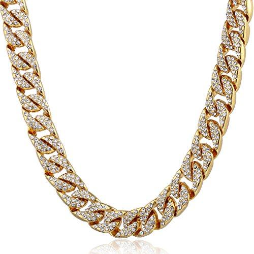 Trendsmax 14mm Männer Frauen Hiphop Halskette Kette Iced Out Curb kubanischen Gelbgold gefüllt GF w gepflasterte klare Strasssteine 66.04cm (Gold Gefüllt Kette)