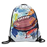 Etryrt Prime Sacs à Cordon,Sac à Dos, Rugby Ball Sketch Unisex Outdoor Rucksack Shoulder Bag Sport Drawstring Backpack Bag