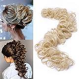 TESS Haarverlängerung Blond Ponytail Extension DIY Haargummi Haarteil Dutt Synthetik Haare für Haarknoten Zopf Pferdeschwanz Hair Extensions 32