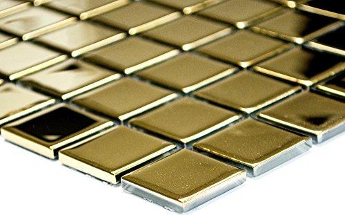 Mosaik-Netzwerk Mosaikfliese Quadrat Crystal uni gold Glasmosaik Transluzent Transparent 3D Fliesenspiegel, Mosaikstein Format: 25x25x4 mm, Bogengröße: 327x302 mm, 1 Bogen / Matte