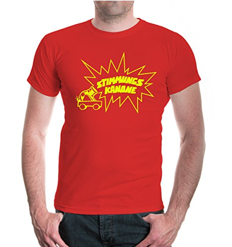 buXsbaum® T-Shirt Stimmungskanone Red-Neonyellow