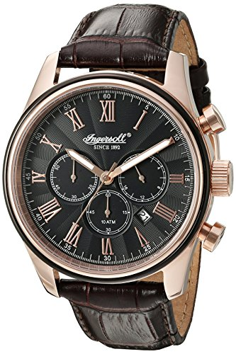 £165.00 New Ingersoll Quartz Men's Quartz Watch with Black Dial Chronograph Display and Brown Leather Strap INQ040BKRS