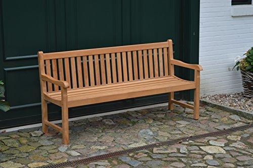 Ploß Landhausbank Coventry 180 cm – Holz-Gartenbank in Braun – Friesenbank für 2 Personen mit FSC-Zertifikat – Teakholz-Bank mit Armlehnen – Sitzbank für Garten, Terrasse & Balkon - 8