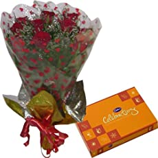 SIMPLE COMBO - 12 Red Roses Hand Bunch with Cadbury Celebrations Pack