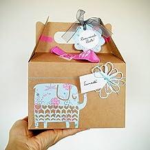 Cajita Regalo para Recién Nacidos con Cupcake (Babero TOMMEE TIPPEE + Calcetines en Algodón), Esponja natural SUAVINEX y Calcetines en Forma de Piruleta | Baby Shower Idea Regalo | Tonos Azules, Para Niños