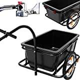 Bike Trailer - Coupling 80 Kilos 90 Liters Pneumatic Tires Cargo Luggage Bicycle Handle Drawbar