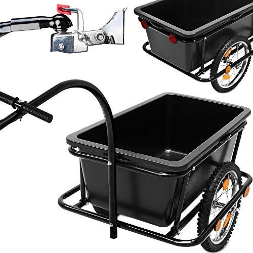 Deuba Fahrradanhänger mit 90L Kunststoffwanne inkl. Kupplung - Lastenanhänger Transportanhänger Anhänger Handwagen