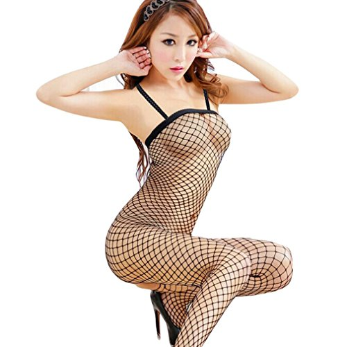 MEIbax Clearance 1pc sexy netzstrümpfen bodystocking püppchen dessous chemise ärmellose nachtwäsche (freie Größe, Schwarz)