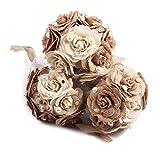 oulii Blumenstrauß Hochzeit Rustikaler Jute, Blume Bouquet Spitze und Perlen Dekoration Verlobungsring Hochzeitstag