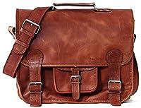 LE CARTABLE (L) Maletín bandolera de piel para portátil, Bolso bandolera con diseño de cartera escolar, color marrón claro PAUL MARIUS Vintage & Retro