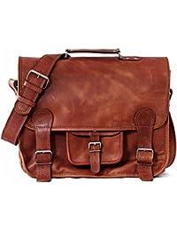 School Satchel (L) LIGHT Vintage Leather Satchel Shoulder Bag (A4) Unisex  PAUL f25170cc70dd1