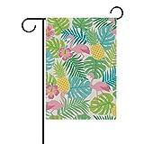 vinlin Tropische Flamingo Garten-Palme Flagge aus Polyester, Willkommen zu Hause, Flagge, 12x 18cm 30x 40cm, Polyester, 28x40(in)