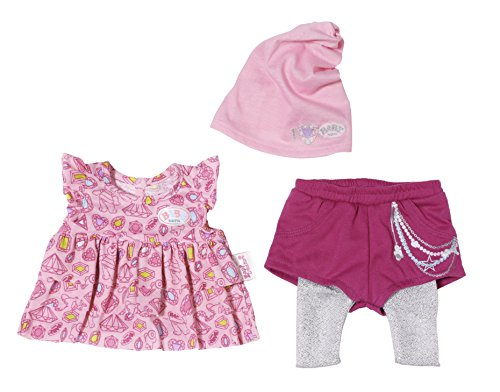 Glitzer-baby-puppe T-shirt (Zapf Creation 822999 - Baby born Fashion Kollektion rosa Kleid, pinke Shorts mit Leggings)
