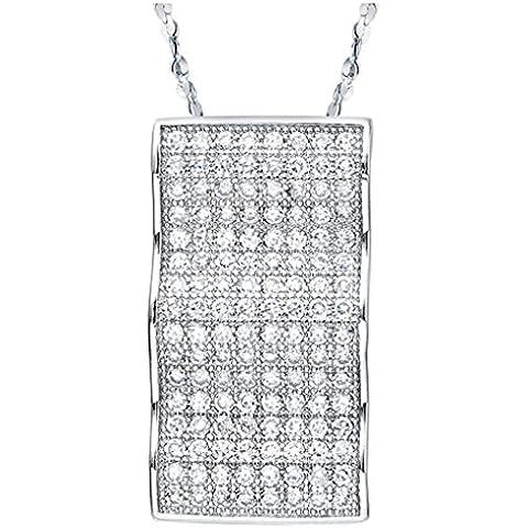 AieniD Joyas de Moda Collares Mujer Oro Blanco Colgante Chapado en Plata Mosaico Cz
