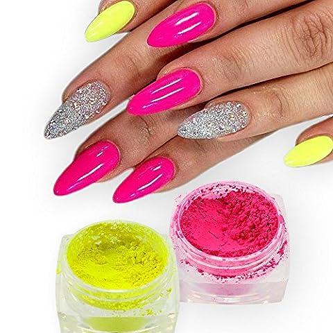 Meicailin 2Pcs Set Fluorescent Effect Nail Glitter Neon Pigment Nail