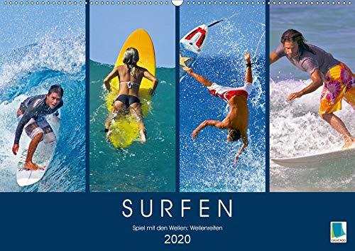 Surfen: Spiel mit den Wellen - Wellenreiten (Wandkalender 2020 DIN A2 quer): Wind auf der Haut und Meeresrauschen im Ohr (Monatskalender, 14 Seiten ) (CALVENDO Sport)