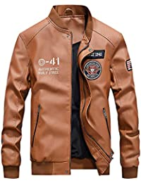25e1fb0fc5b1 Moxishop Hommes Veste en Similicuir Casual Jacket Mode Outdoor Motard  Bombardier Moto PU Cuir Blouson Rétro