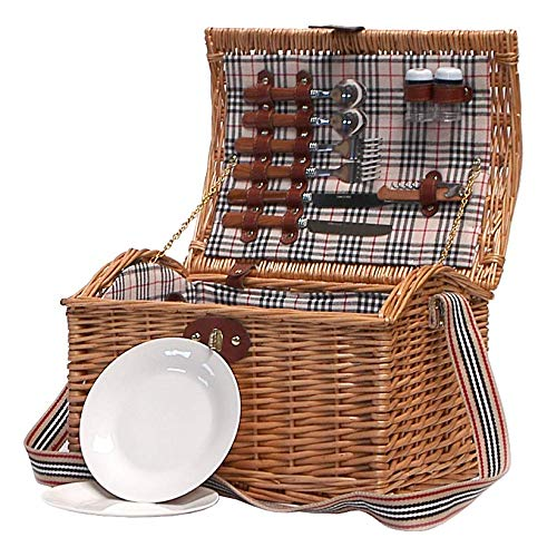 Tradizionale cesto di vimini da picnic 'highgrove' per 2 persone - idea regalo ideale per un compleanno, un matrimonio, la pensione