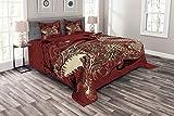 ABAKUHAUS Drachen Tagesdecke Set, Japanische Drachen Doodle, Set mit Kissenbezügen Sommerdecke, für Doppelbetten 264 x 220 cm, Elfenbein Rubin