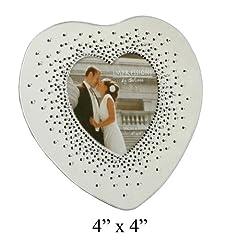 Idea Regalo - FG527 - Cornice portafoto a forma di cuore per anniversario di matrimonio con cristalli che producono un effetto di luce a raggiera, 10,16 x 10,16 cm