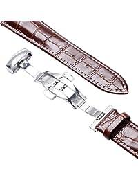 YISUYA 22mm genuina piel de vacuno Replacement Reloj Banda Correa con cierre de apriete con botón marrón