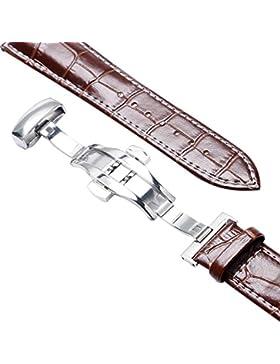 yisuya 22mm echtes Leder Rindsleder Ersatz Uhrenarmband Push Button Faltschließe braun