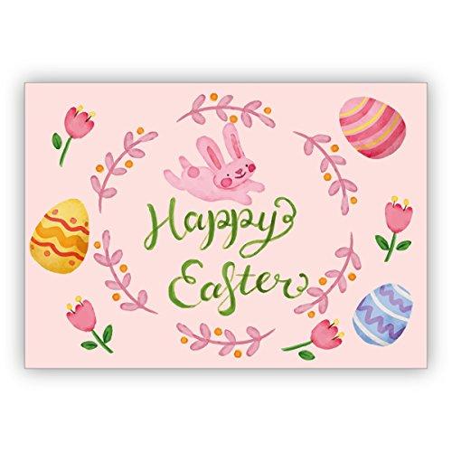 5er Grußkarten Set: Entzückende handgemalte Osterkarte mit Tulpen, Ostereiern und Häschen in rosa: Happy Easter