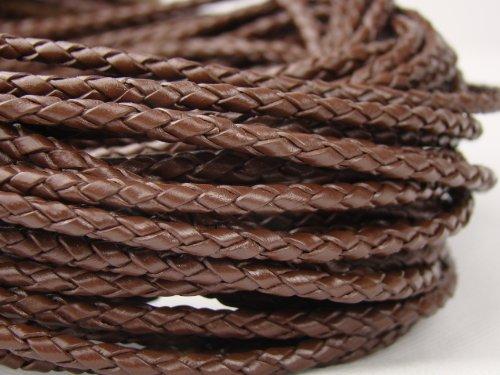 CB-Corda di Pelle Intrecciata, diametro: 3mm, lunghezza: 1m marrone