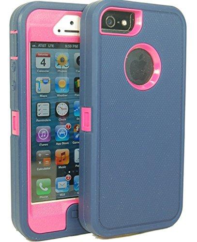 nicetime Defender Body Armor Coque pour iPhone 5/5C/5S/6/6Plus-Comme otterbox- emballage non-commercial-Bleu Marine/Rose Vif, Bleu clair, iPhone 6 Plus