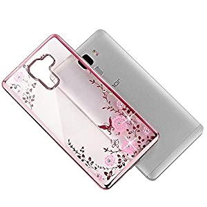 "Skitic Blume Schmetterling Handyhülle für Huawei Ascend Mate 7 / Mate 8 / Honor 7 / Honor 4X / Honor 5X / P8 5.2"" / P8 Lite 5.0"" / P9 / P9 Plus / Enjoy 5S / Mate S, Kreativ Design Secret Garden Bling Glitter Kristall Diamant Strass Rhinestone Electroplate"