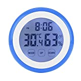 spectronix Touchscreen Digitales Innen-Home Comfort Monitor | zeigt die Raumtemperatur, Luftfeuchtigkeit & Zeit mit Alarm | LCD & Hintergrundbeleuchtung Display mit magnetischer Rückseite | Hygrometer für Home & Office–Uhr Version blau