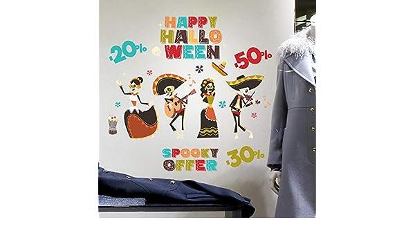kina UVH0021 Vetrofanie di Halloween su PVC Trasparente Decorazioni adesive da vetrine per Halloween