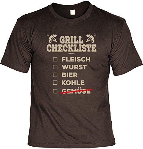 Griller T-Shirt - GRILL CheckListe - FunHemd für BBQ und Grillen Braun
