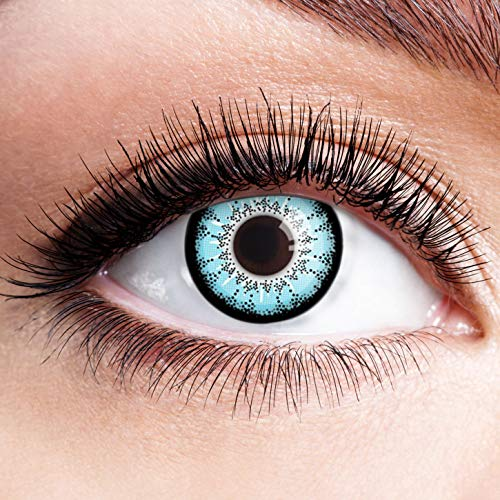 Farbige Kontaktlinsen Blau Ohne Stärke Blaue Crazy Weiche Motiv-Linsen Farbig Halloween Karneval Fasching Cosplay Kostüm Hellblau Schwarz Rand Lunatic ()